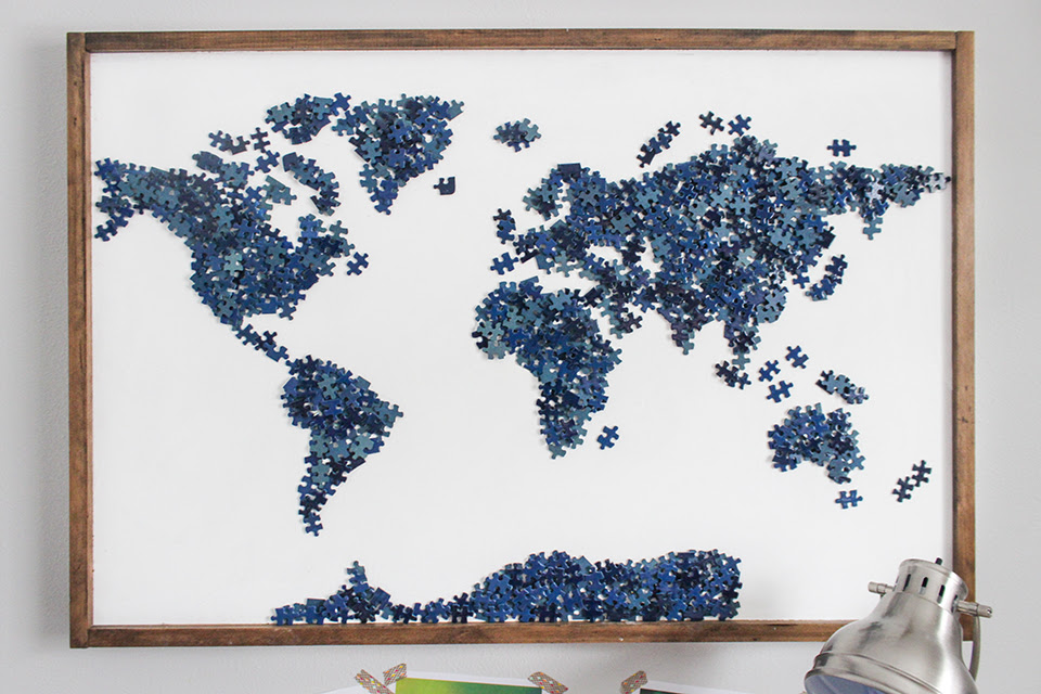 Upcycled Puzzle Art - Shades of Blue Interiors