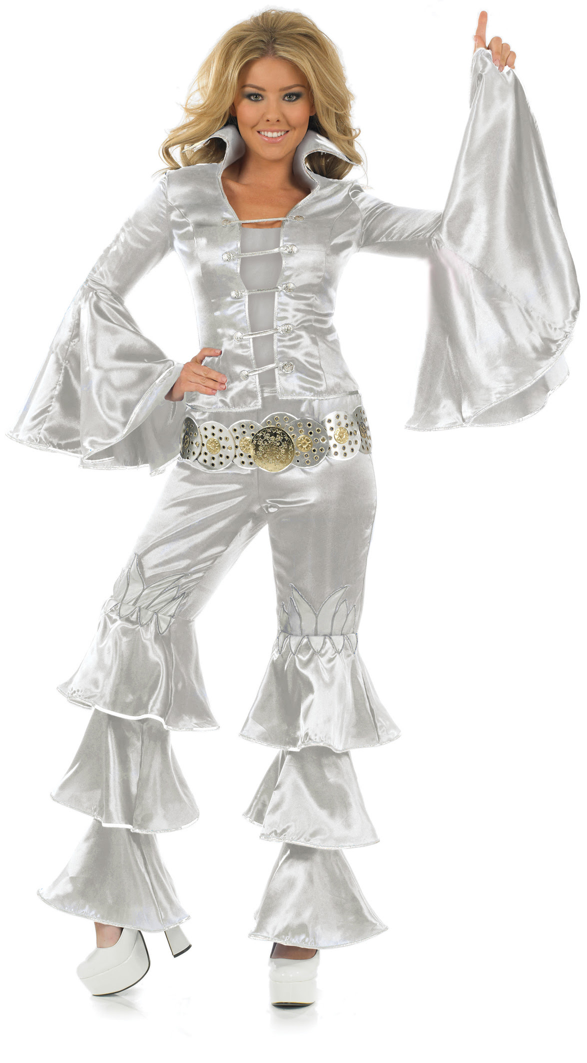 silver dancing queen 70s fancy dress ladies costume 1970s
