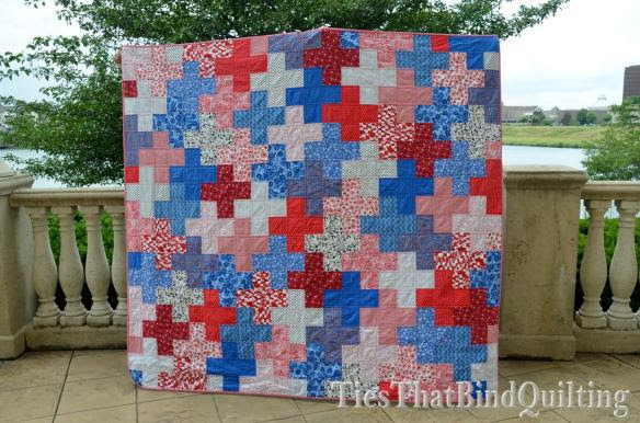 Cross / Plus Quilt, red, white, and blue