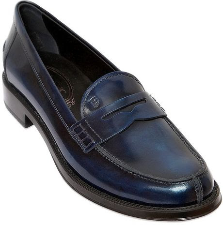 Tod's 25Mm Brushed Leather Penny Loafers in Blue for Men ...