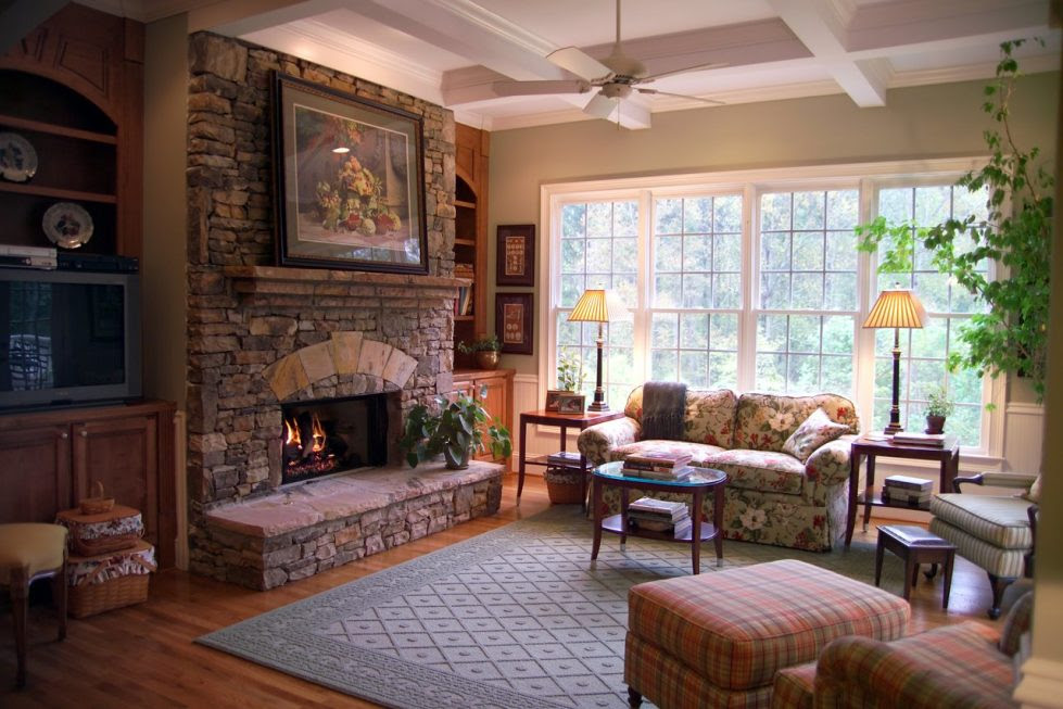 English Style Interior design Living room with Fireplace 980x653
