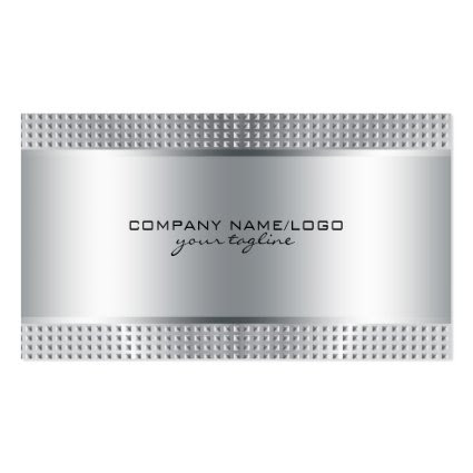 Silver Shiny Metallic Design-Stainless Steel Look Business Card Template
