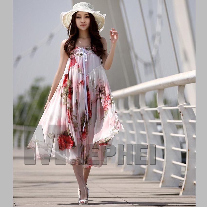 hot fashion ladies maxi dress boho bohemian chiffon dress
