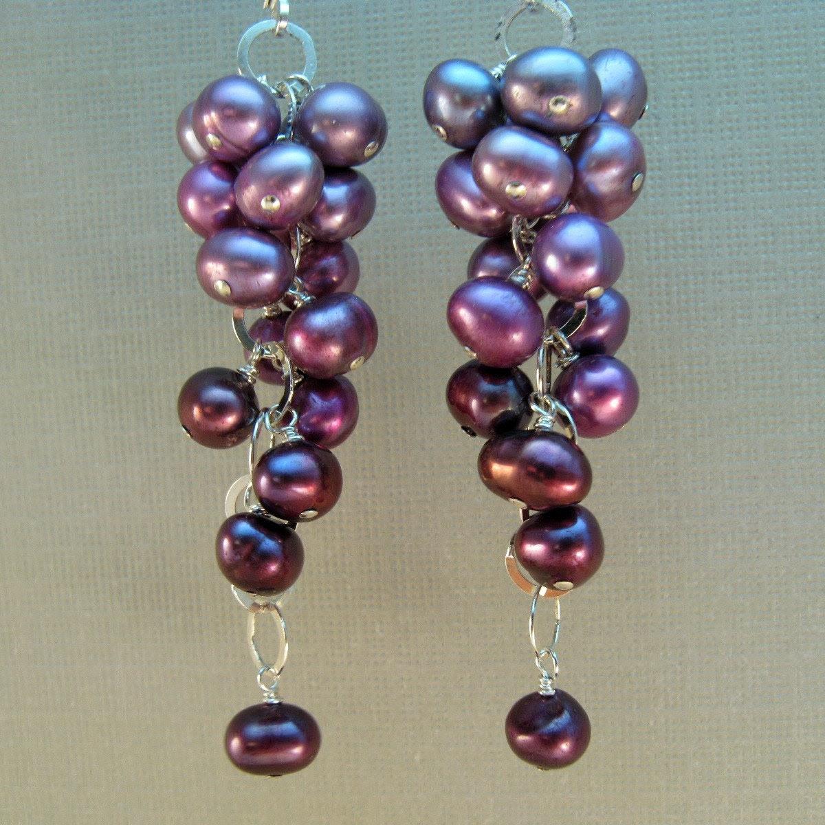 Earrings - Lavender Freshwater Pearls and Sterling Silver, June Birthstone - Napa