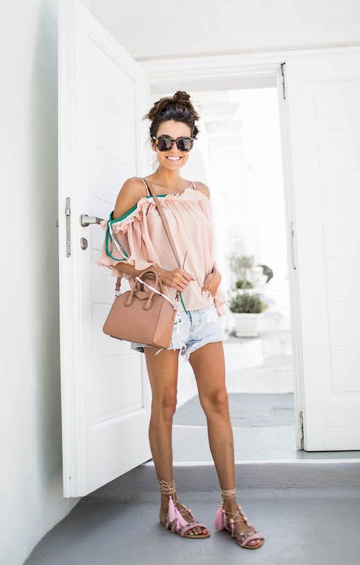 Le Fashion Blog Pink Cold Shoulder Blouse Denim Cut Off Shorts Pom Pom Sandals Via Hello Fashion Blog