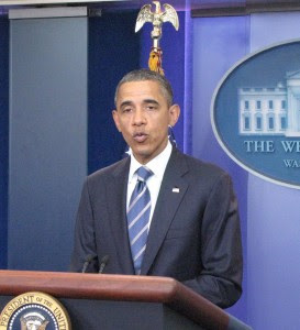 Obama in the briefing room