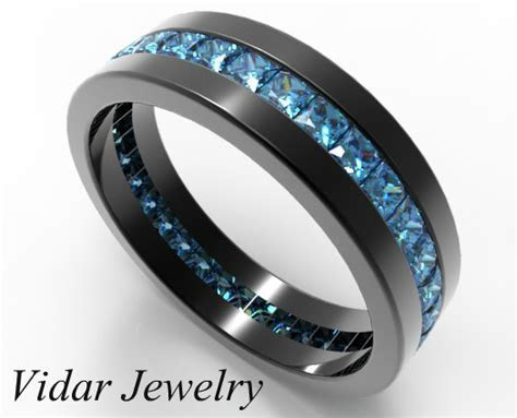 Black Gold Princess Cut Blue Diamond Wedding Band For Him