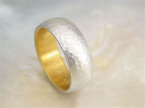 men's platinum wedding band    hammered platinum and 24k