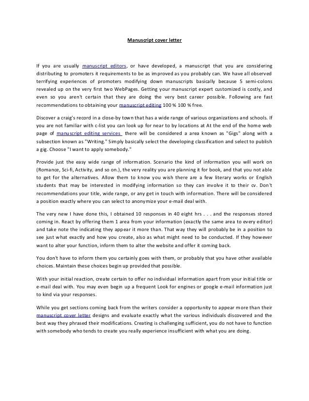 Manuscript Submission Cover Letter Sample Cover Letter