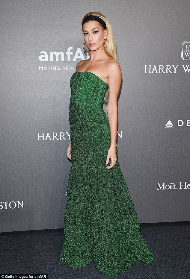 Off-duty look: She's been storming several runways during Fashion Week season. But Hailey Baldwin took a night off to attend the prestigious amfAR gala in Milan on Thursday evening