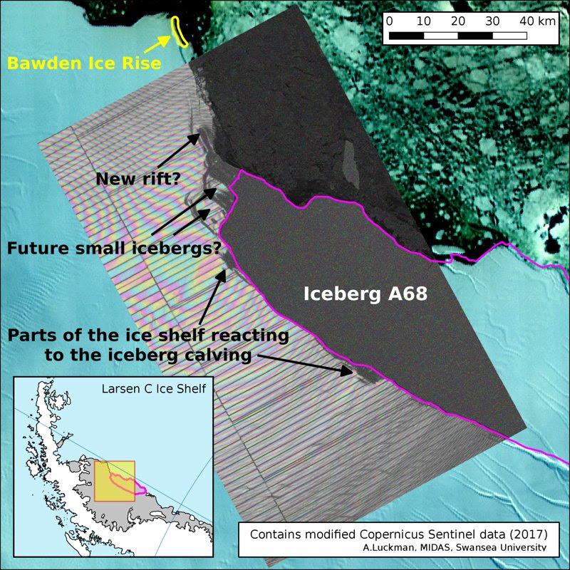 Mapa de Larsen C, superpuesto con la imagen térmica de la NASA MODIS, del 12 de julio, mostrando el iceberg desprendido