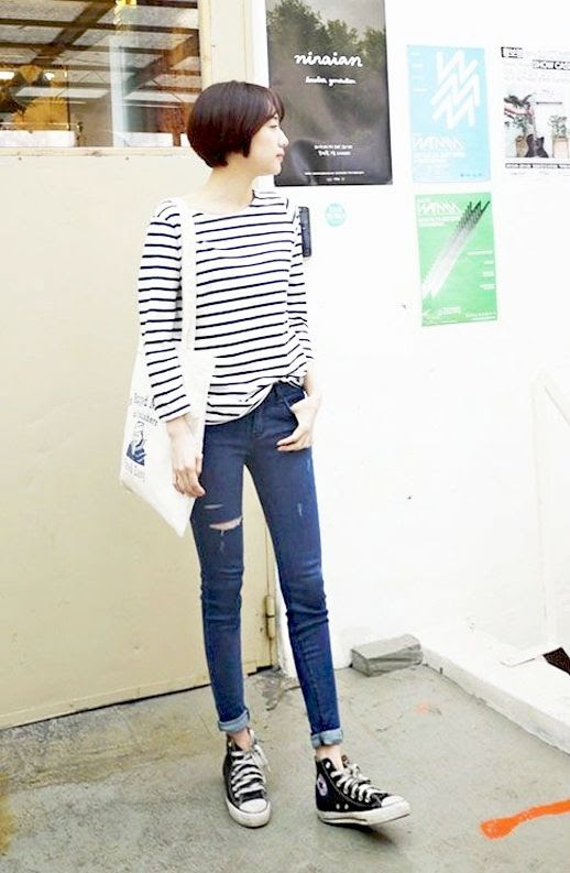 Le Fashion Blog Casual Cool Korean Look Striped Shirt Ripped Skinny Jeans Black High Top Converse Sneakers Via Sibuya