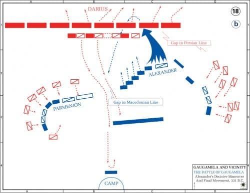 Map of the Battle of Gaugamela - Alexander's Attack