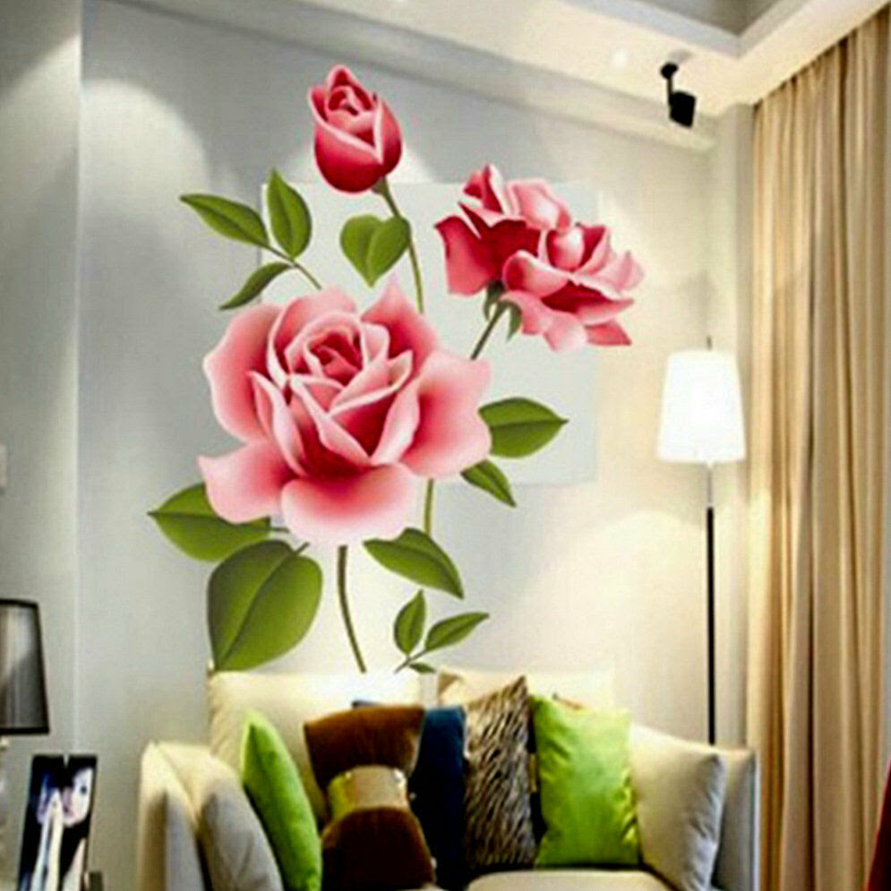 Rose Flower Wall Stickers Removable Decal Home Decor DIY ...