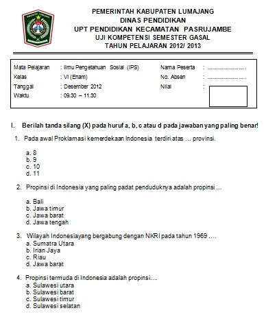 Soal Ujian Semester Ganjil IPS SD Kelas 6 2012  SoalUjian.Net