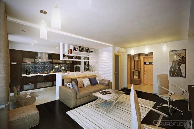White brown open plan lounge kitchen