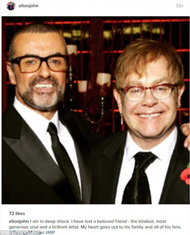 Devastated: Elton John has paid tribute to his close friend George Michael in an emotional post after his tragic death on Christmas day aged 53