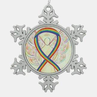 Rainbow Awareness Ribbon Angel Customized Ornament