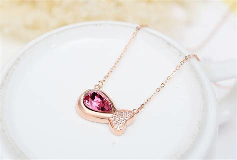 Women Sterling Silver Rose Gold Plated Diamante Pink
