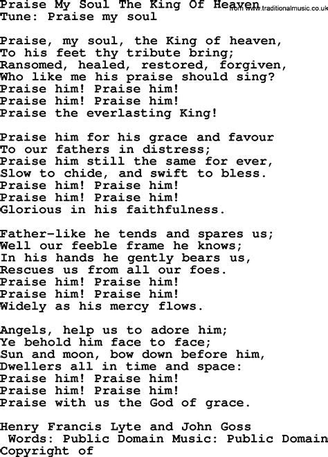 Wedding Hymns and songs: Praise My Soul The King Of Heaven