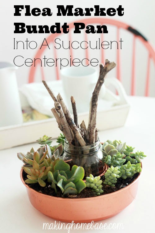 Flea Market Bundt Pan Succulent Centerpiece