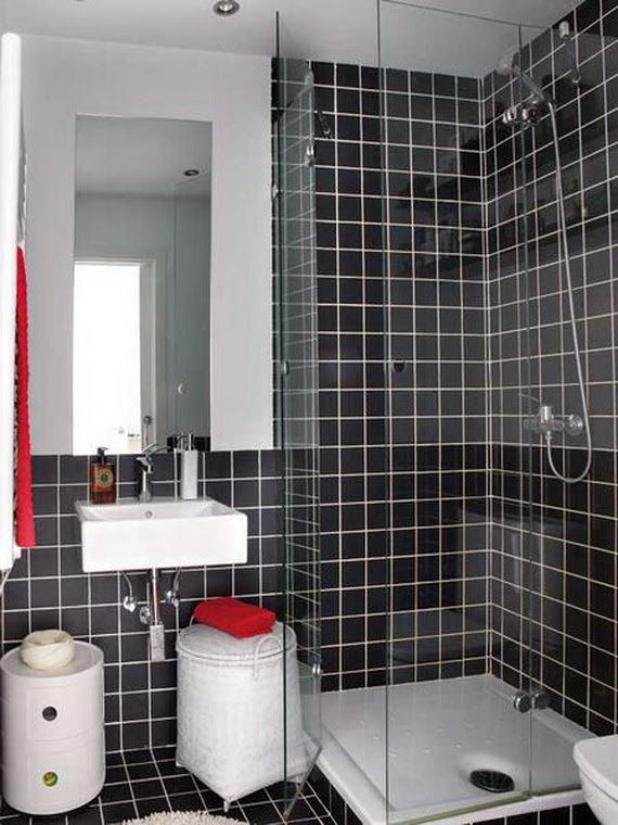 Apartments Stunning Black Color Very Small Apartment Bathroom