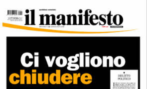 Il manifesto announces its controlled bankruptcy in February 2012. Source: Il manifesto.