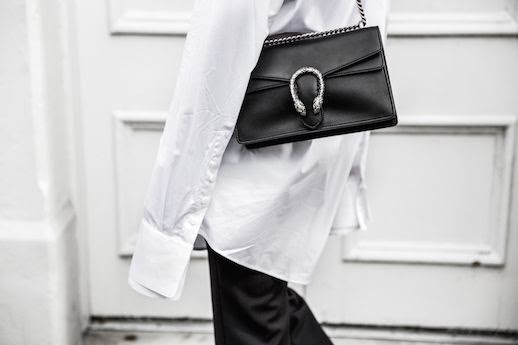 Le Fashion Blog White Button down Shirt Black Luxury Bag Via Modern Luxury