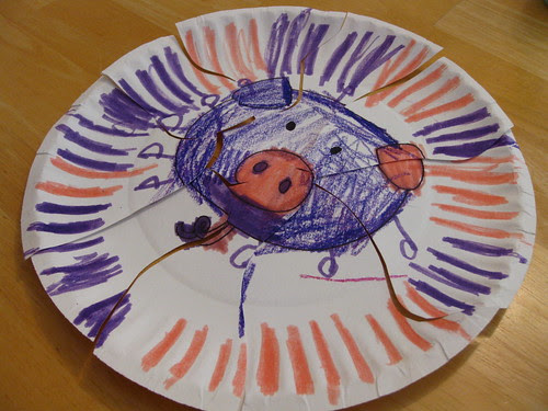 Paper Plate  Purple and Pink Pig Puzzle Pieces