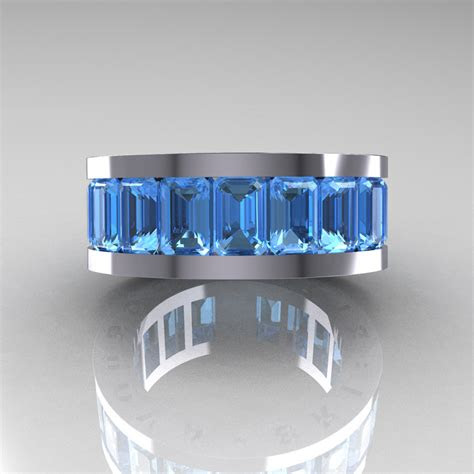Mens Wedding Band Blue Diamond