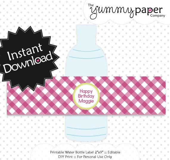 Editable Raspberry Lime Gingham Bottle Labels - Instant Download ...