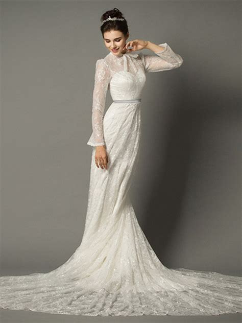 Sheath High Neck With Collar Long Sleeve Lace Wedding