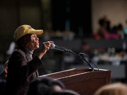 Hazel Dukes of the NAACP of New York speaks during