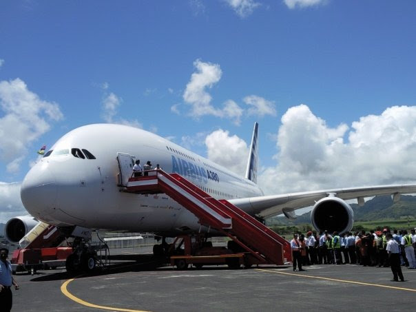 The A380 in Mauritius in November 2009