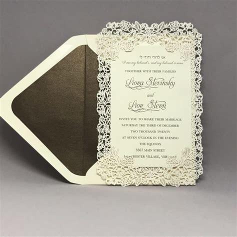 Ivory Laser Cut Roses ? Wedding Invitation