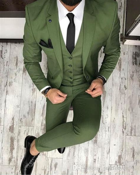 2017 Latest Coat Pant Designs Green Men Suit Slim Fit