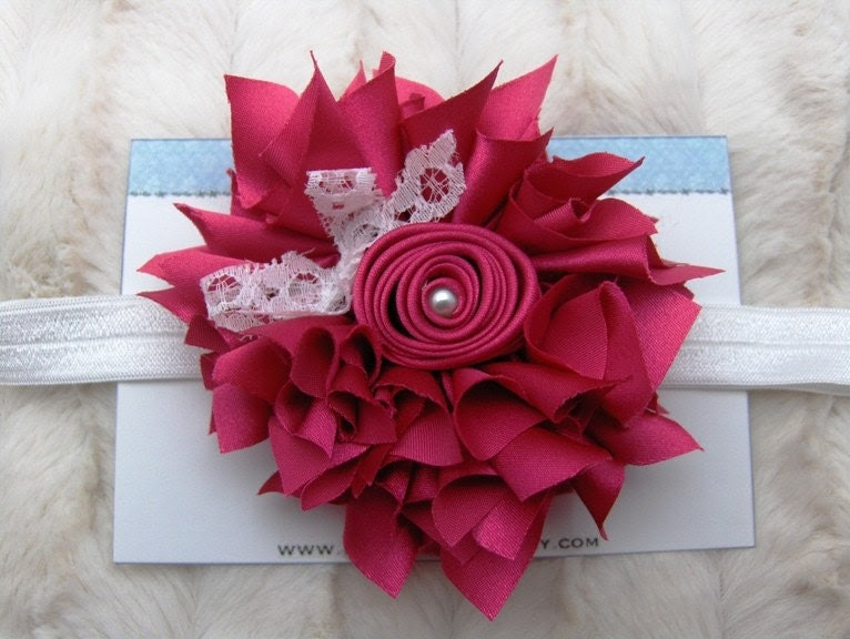Hot Pink Satin Flower with Lace Bow and Pearl Center on White Elastic Headband Many Colors