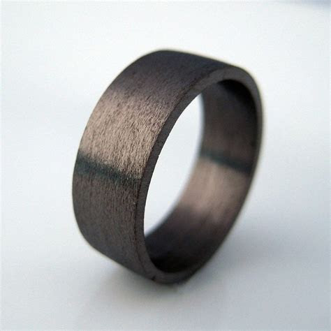 7mm wide wedding band, black gold ring, personalize and