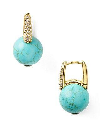 MICHAEL Michael Kors Crystal Huggie Turquoise Earrings