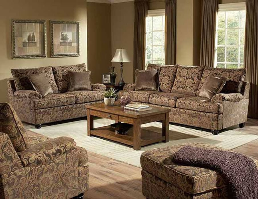 Rich Floral Chenille Traditional Living Room Sofa