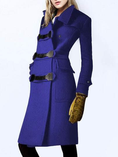 Stand Collar Pockets Buttons Long Blue Coat pictures