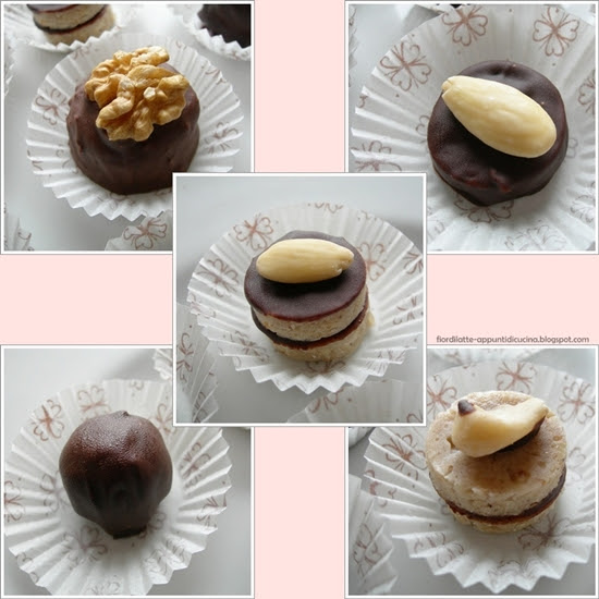 Cioccolatini alle noci, mandorle e miele - Chocolate candies with walnuts, almonds and honey