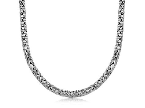 braided design chain mens necklace  oxidized sterling