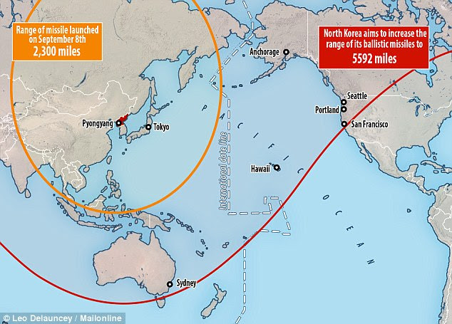 Wide reach: North Korea is currently working on increasing the range of its rockets to 5,592miles which could see it reach several cities on the US coast and Canada - the red line appears uneven due to the map being flattened out