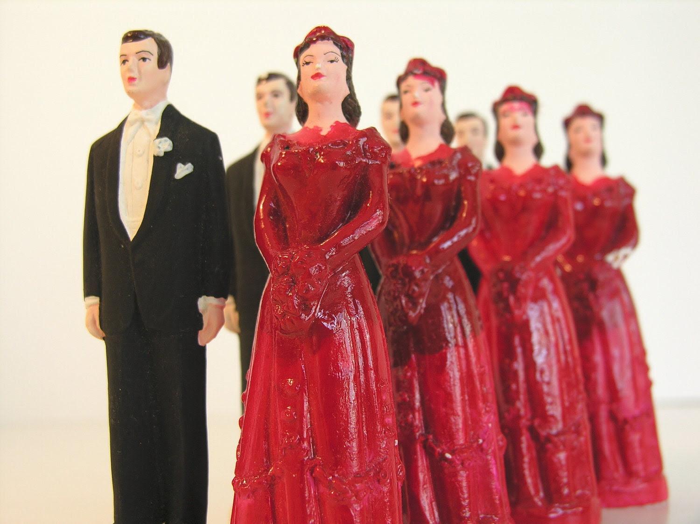 Vintage Cake Toppers Valentine's Day Wedding Attendants