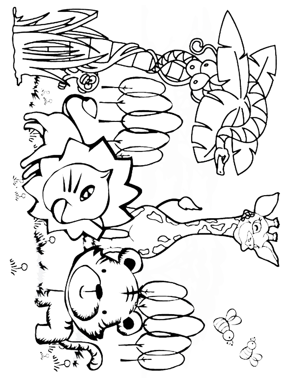 Safari and Jungle Animals Coloring Pages for Kids - Itsy Bitsy Fun | 777x584