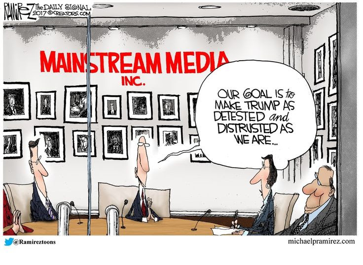 Image result for media trump bias cartoon