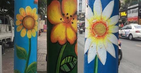 Cột điện nở hoa là có thật, Sài Gòn thêm dễ thương