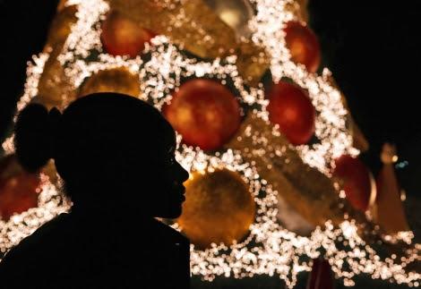 Una niña observa un árbol de Navidad en Santo Domingo. | Efe