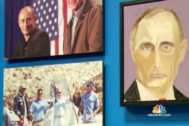 George W. Bush has been known to paint himself in bath tubs. But now the former President painted Pootie Poot, and other world leaders.. Those paintings have been revealed to the world.. So will it calm down Putin and others hellbent on creating world war 3? Will it …bring peace on earth? Or will DUBYA just go back to his old painting schtick: Tub painting..  Rub a Dubya Dub, is that Pootie Poot's soul in your tub?